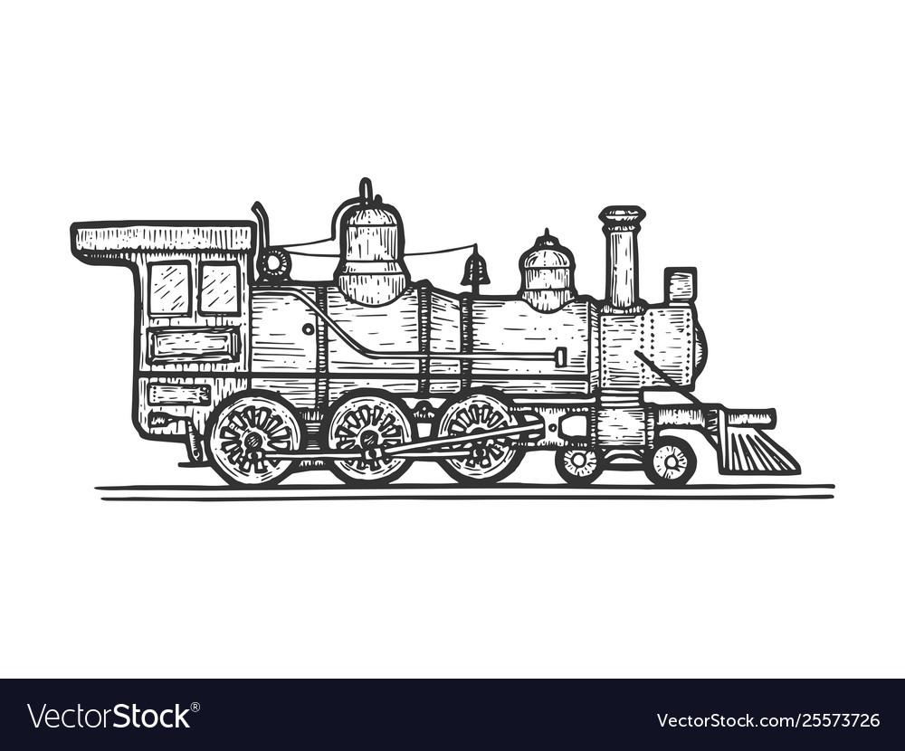 Old steam locomotive transport sketch engraving