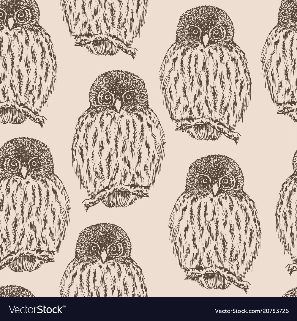 Owl sketch seamless pattern hand drawn