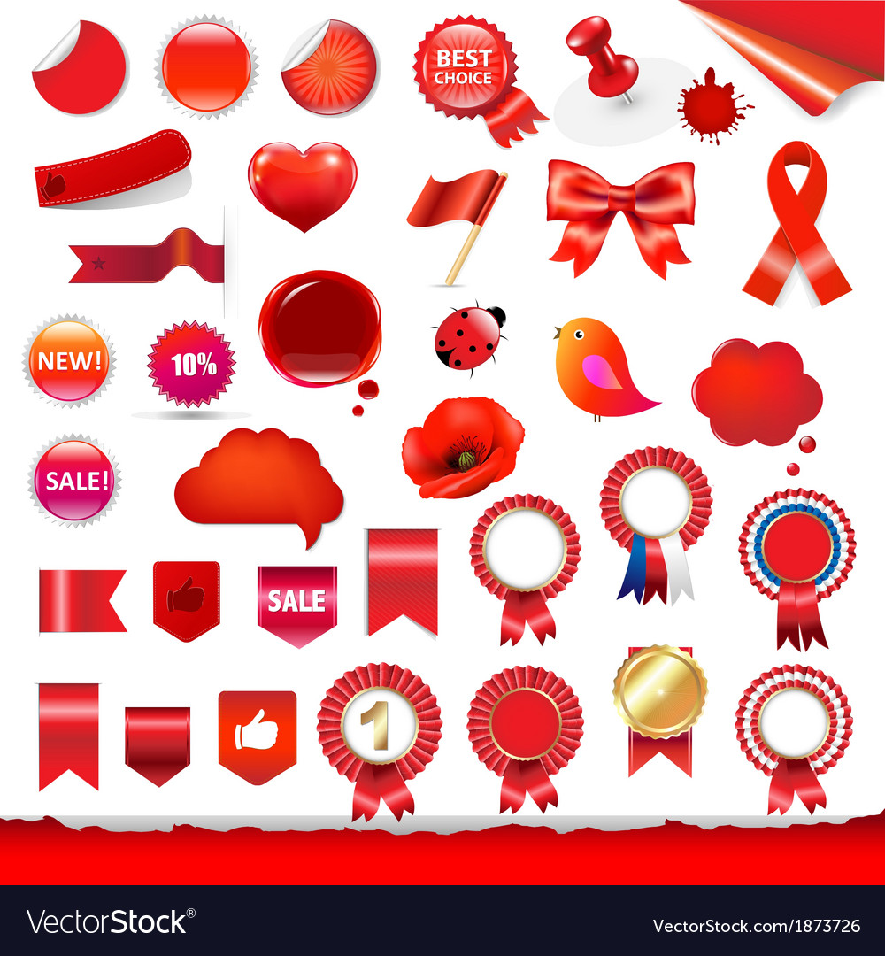 Red Labels And Symbols Set vector image