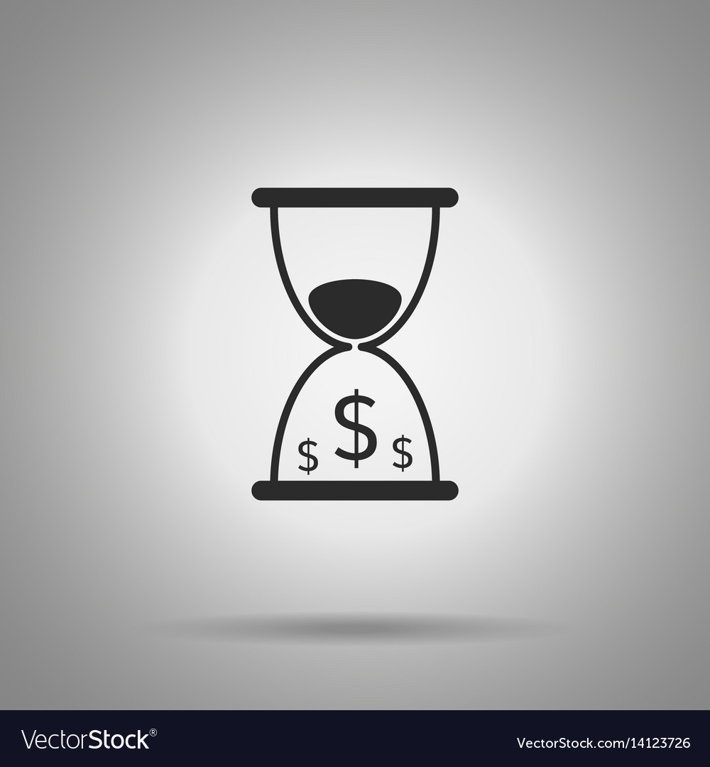Time is money icon hourglass and dollar symbols vector image