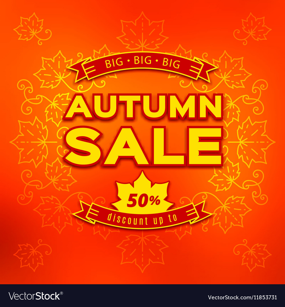 Autumn sale fall discount and shopping vector image