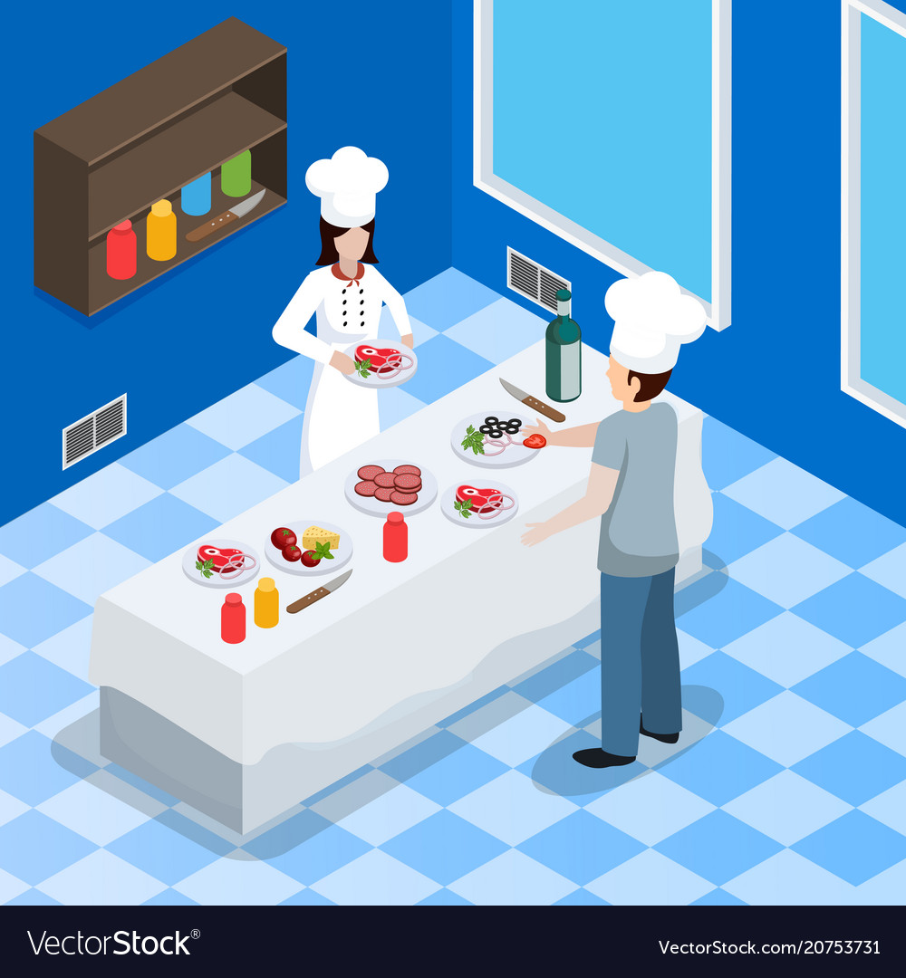 Commercial kitchen interior isometric composition