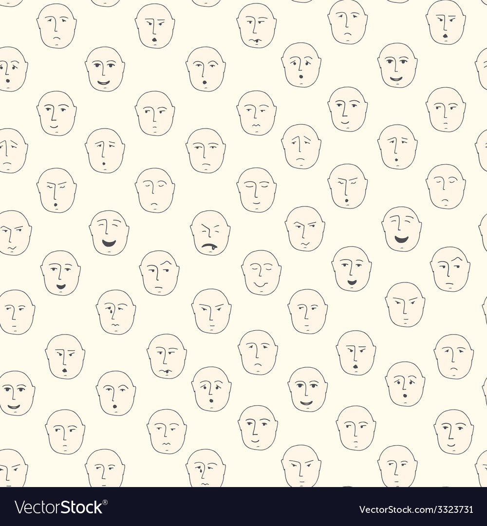 Cute seamless pattern with different facial