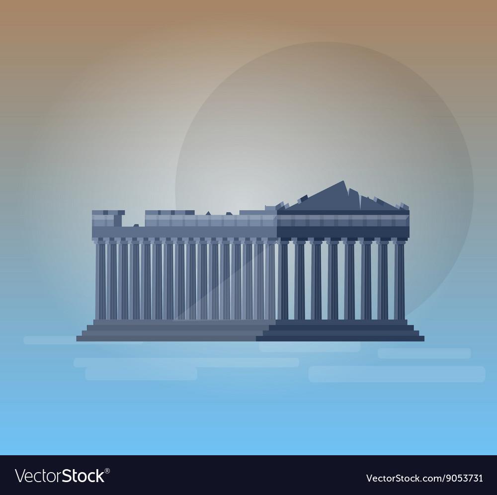 Flat design of parthenon greek vector image