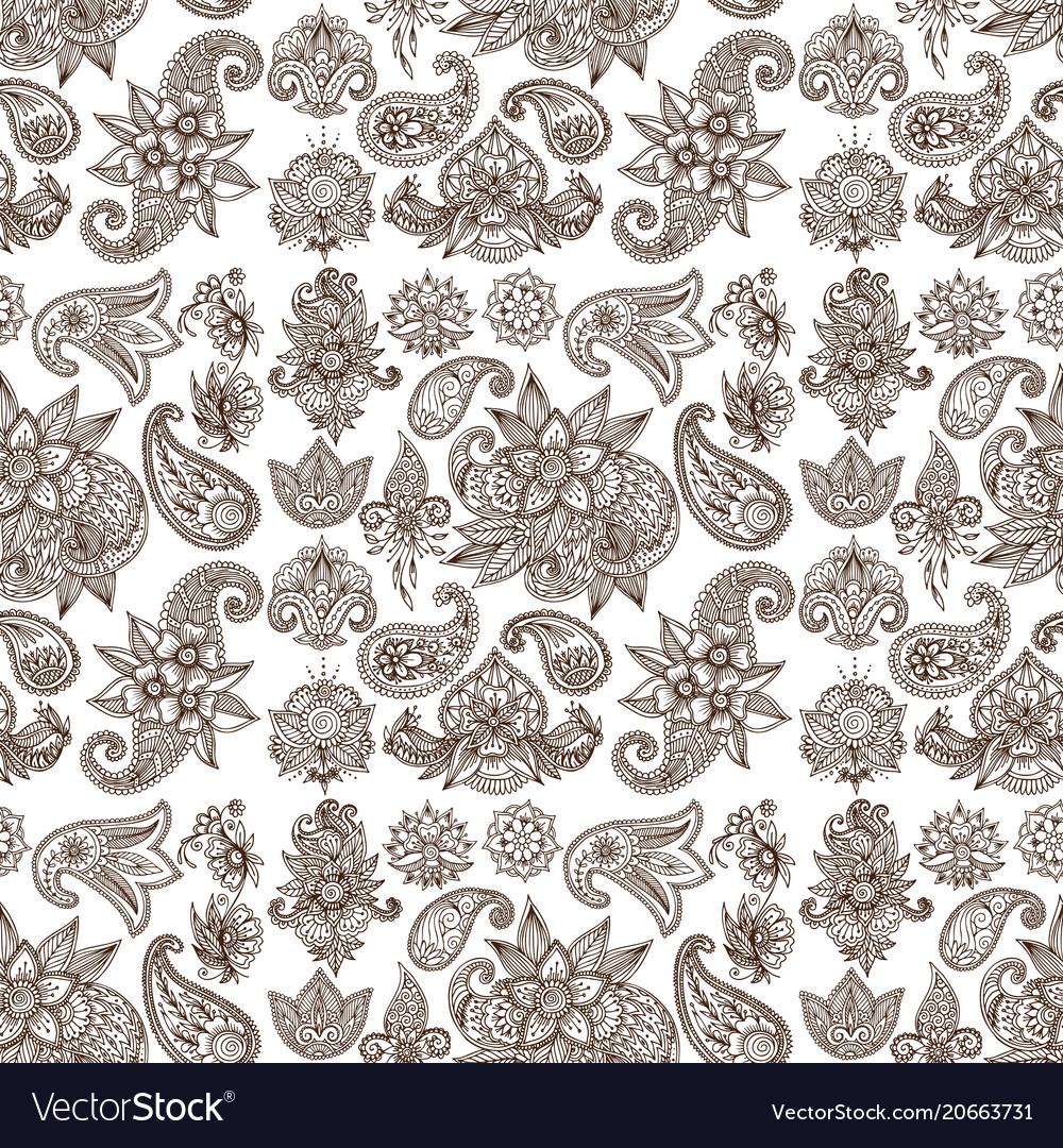 Henna tattoo mehndi flower doodle ornamental