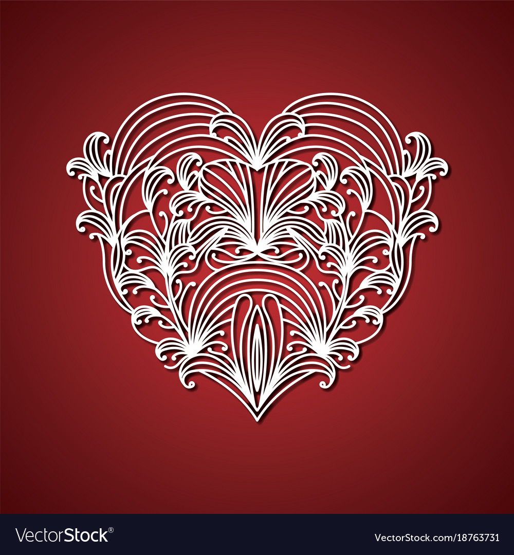 Laser cutting abstract heart with decorative forms