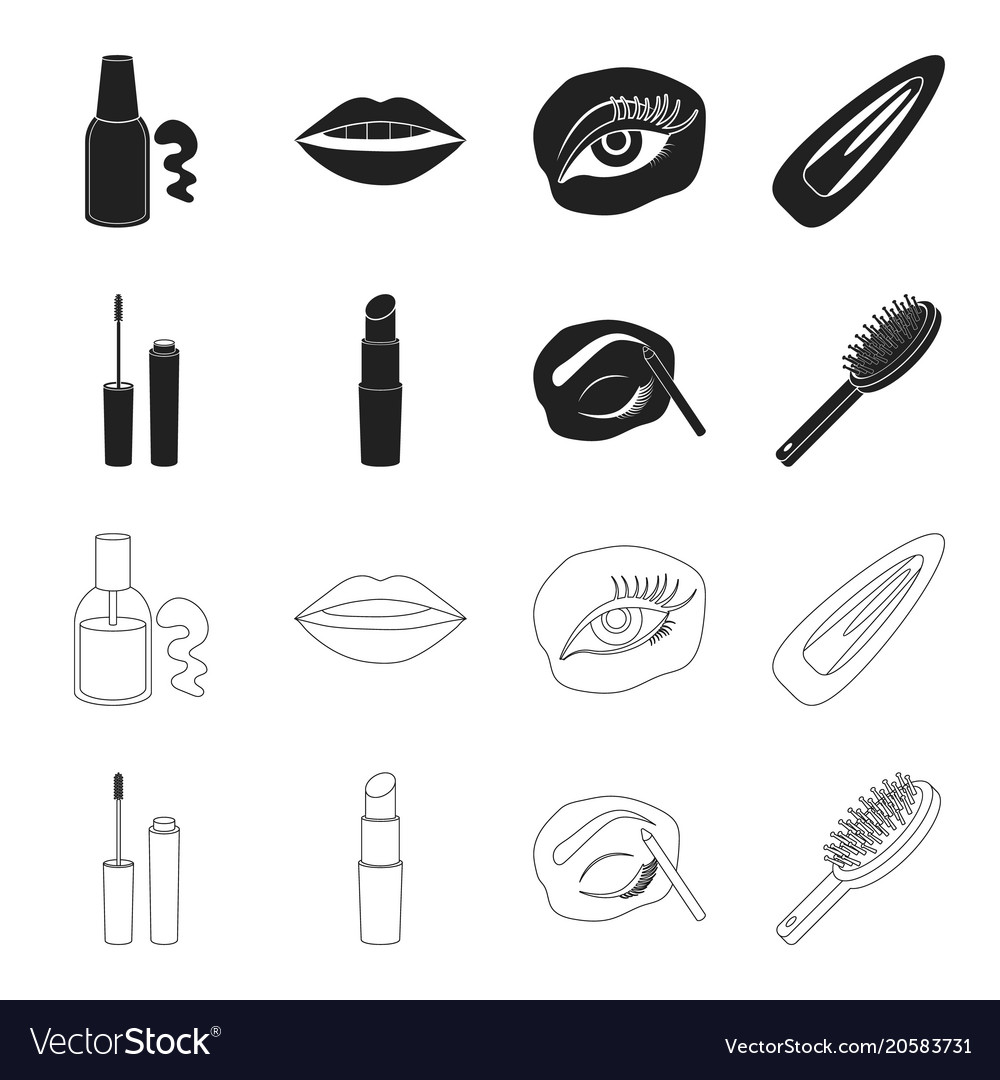 Mascara hairbrush lipstick eyebrow pencil