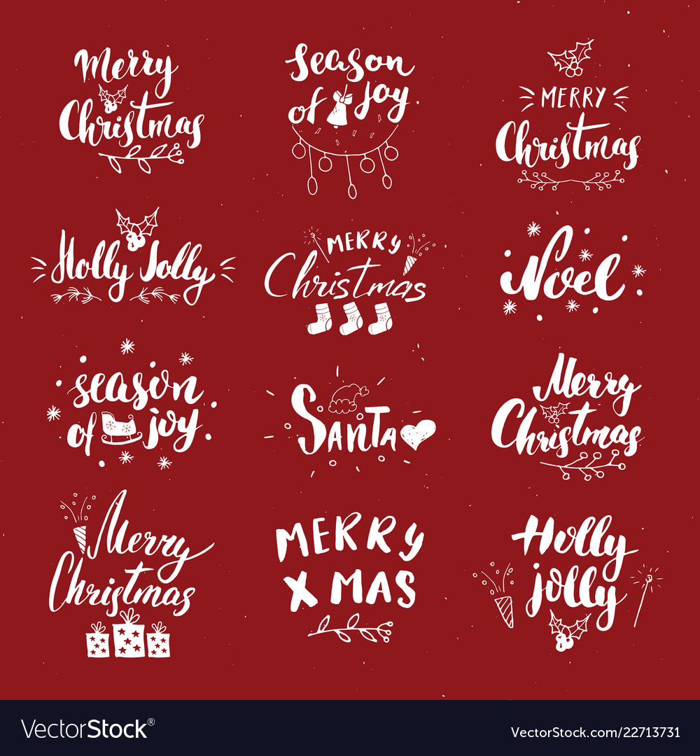 Merry christmas calligraphic letterings set