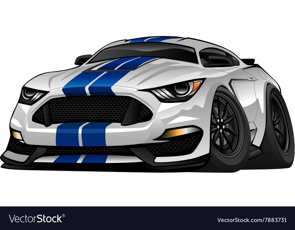 Modern American Muscle Car Cartoon