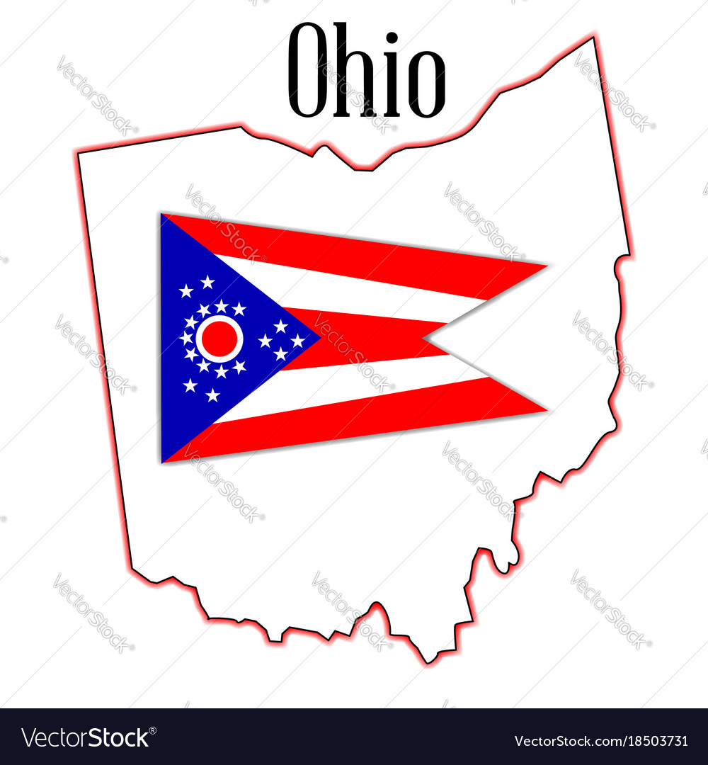 Ohio On State Map.Ohio State Map And Flag Royalty Free Vector Image