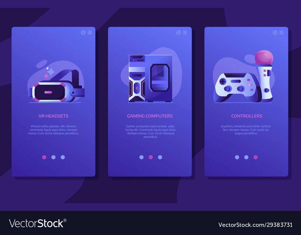 Online vr gaming ui screens templates design