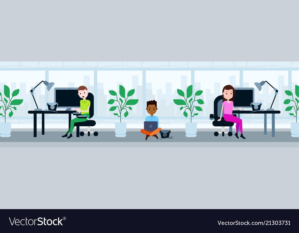 Peole team sitting office working desk lunch break