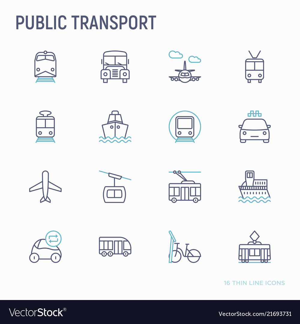 Public transport thin line icons set