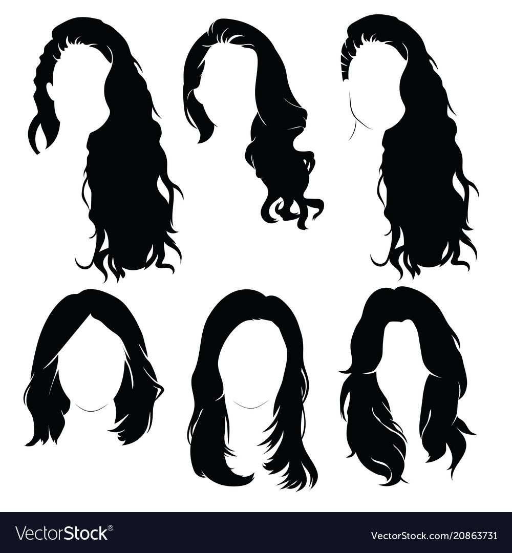 Set hairstyles for women collection black