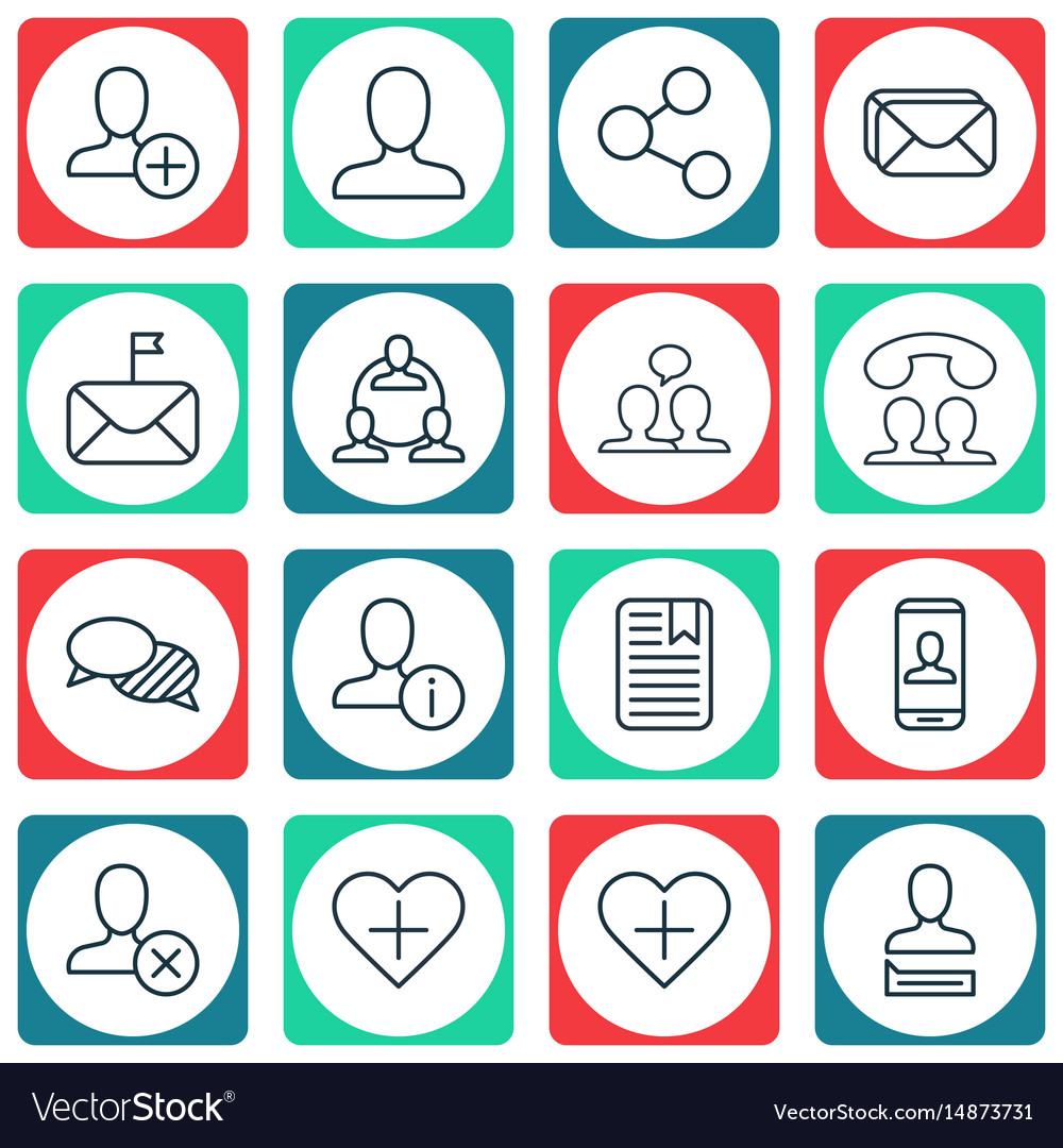 Set of 16 social network icons includes ban