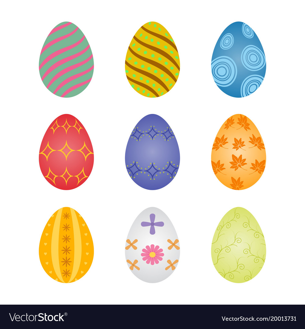 Set Of Colorful Easter Eggs With Abstract Patterns Vector Image