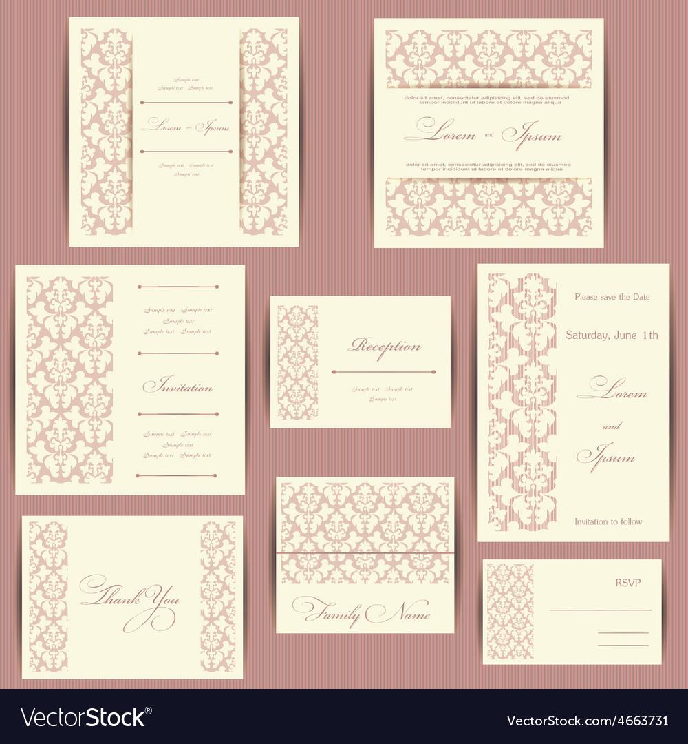 Set of wedding invitation cards Royalty Free Vector Image