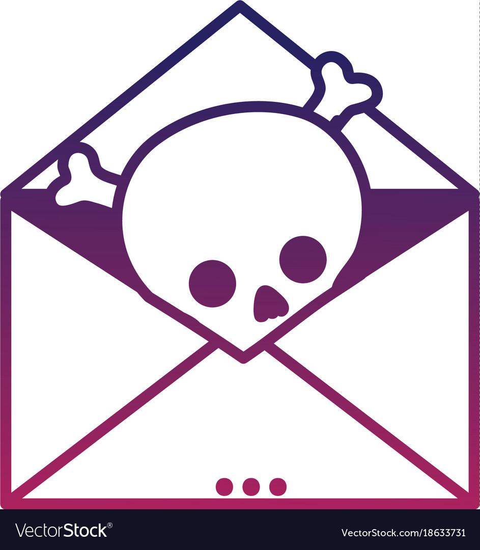 Silhouette e-mail letter message with danger skull vector image
