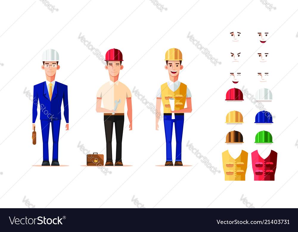 Smart engineer worker in character set