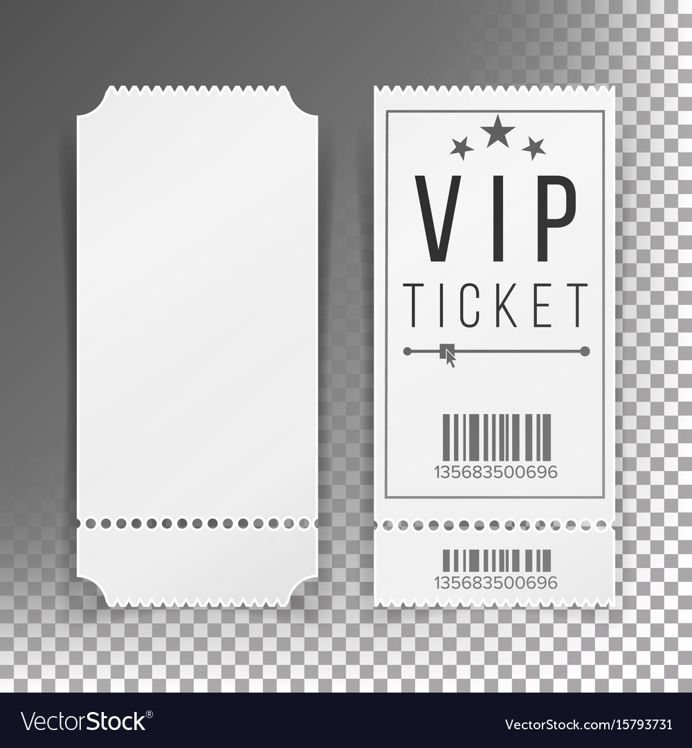 Ticket template set blank theater cinema
