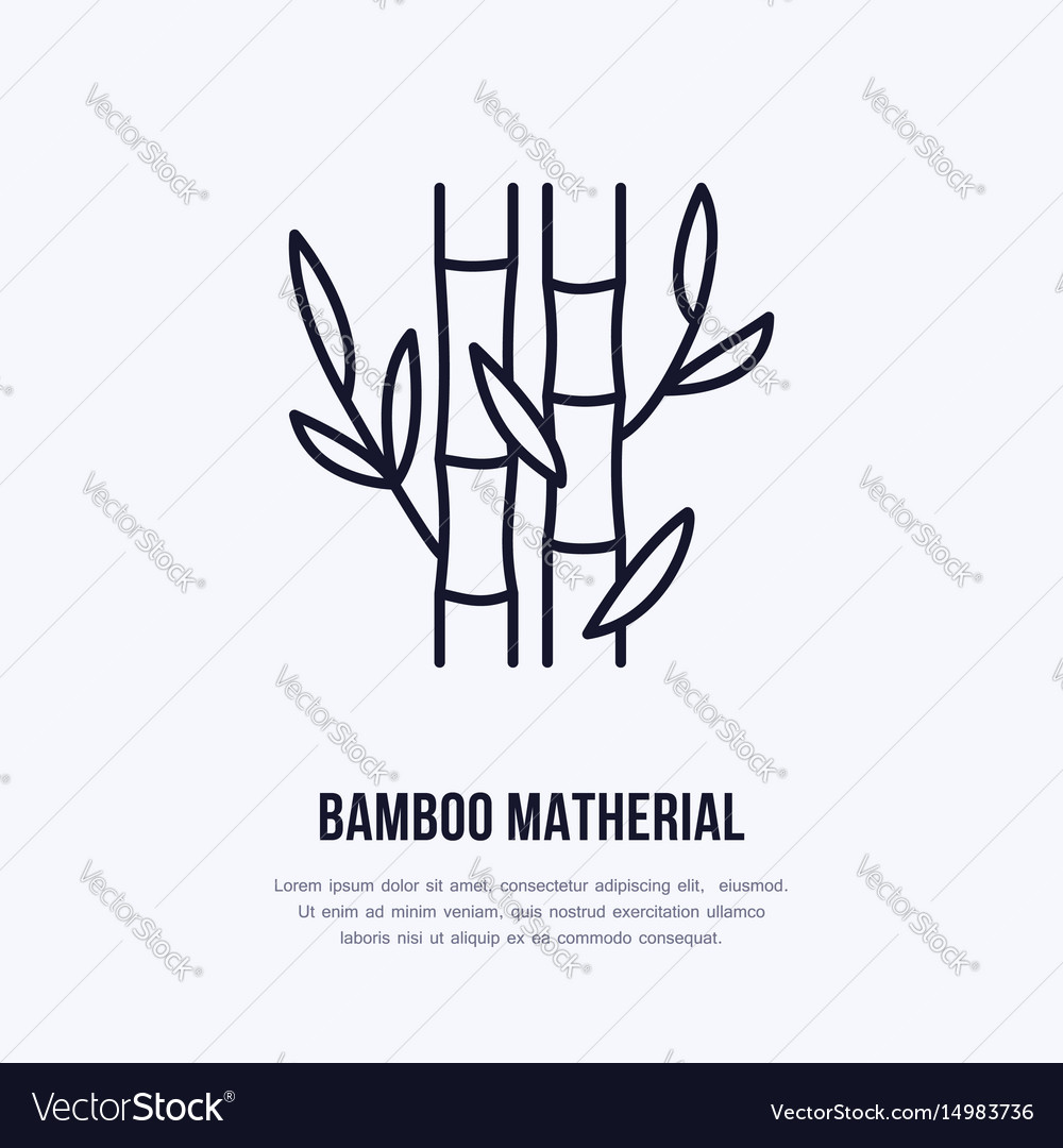 Bamboo fiber flat line icon sign for