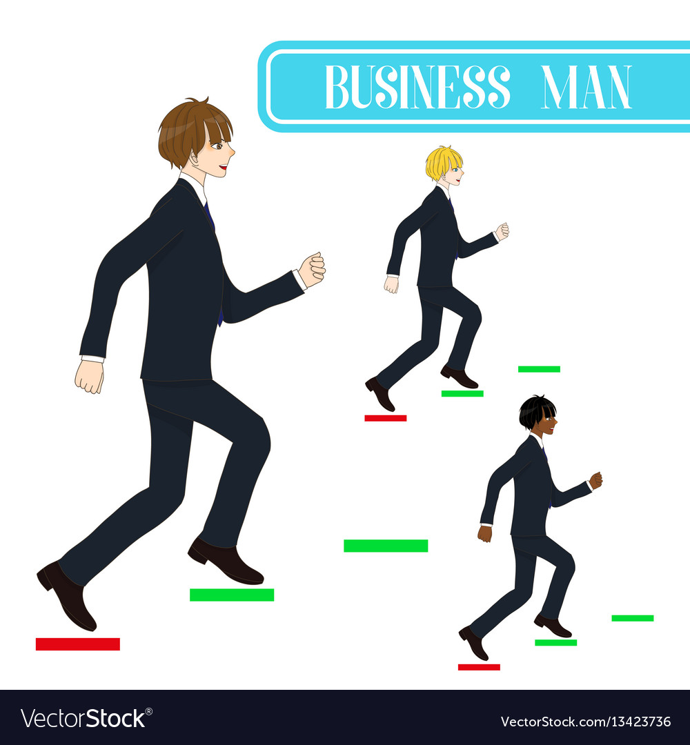 Business man running to the top