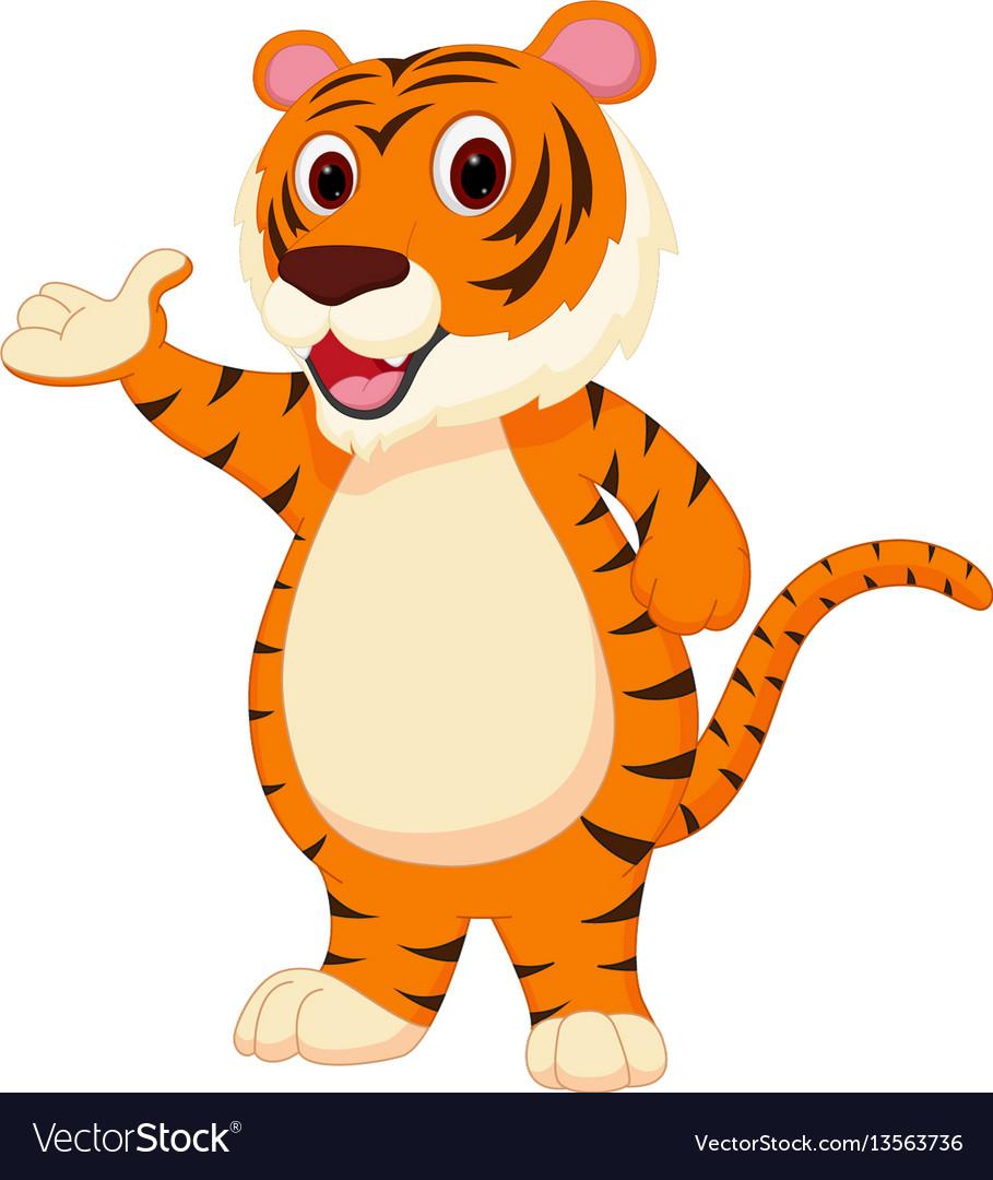 Cute tiger cartoon presenting vector image