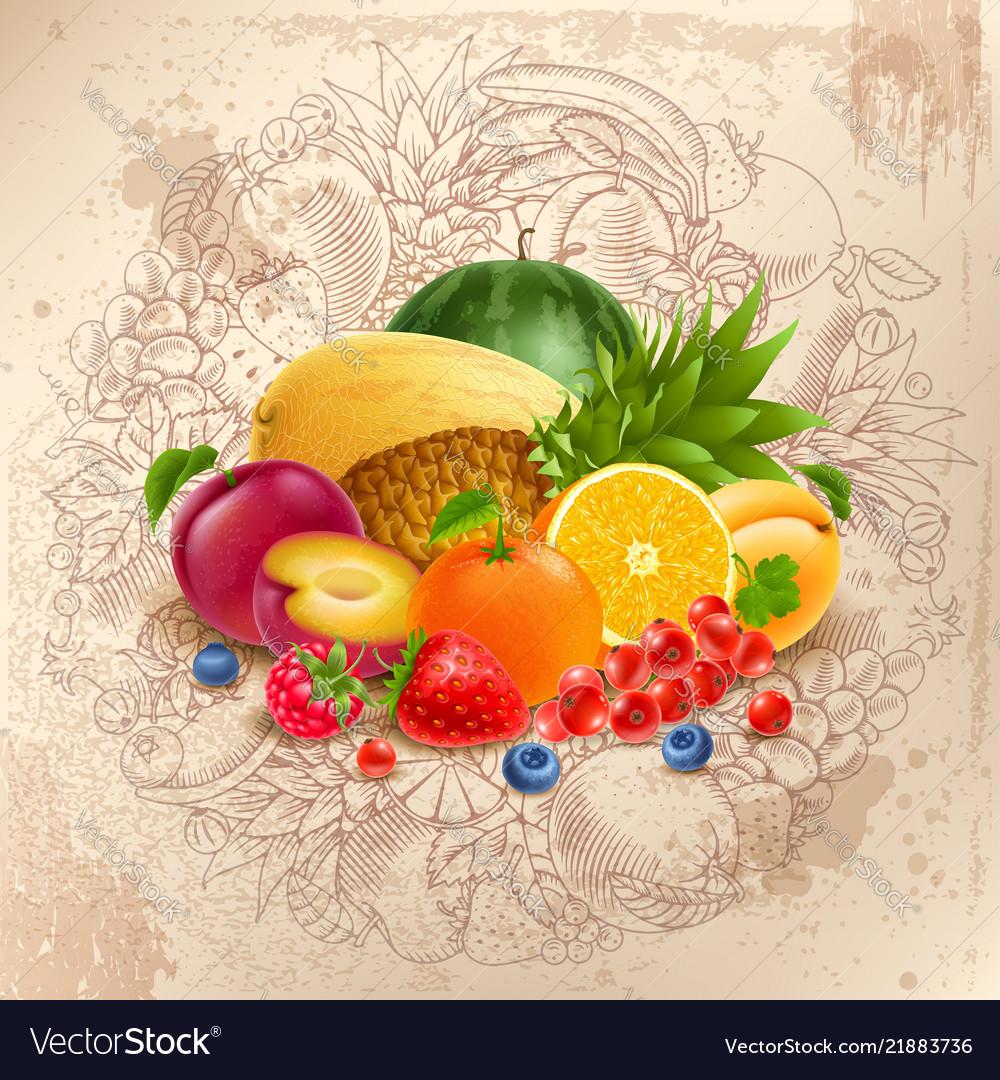 Fruit and berries round design
