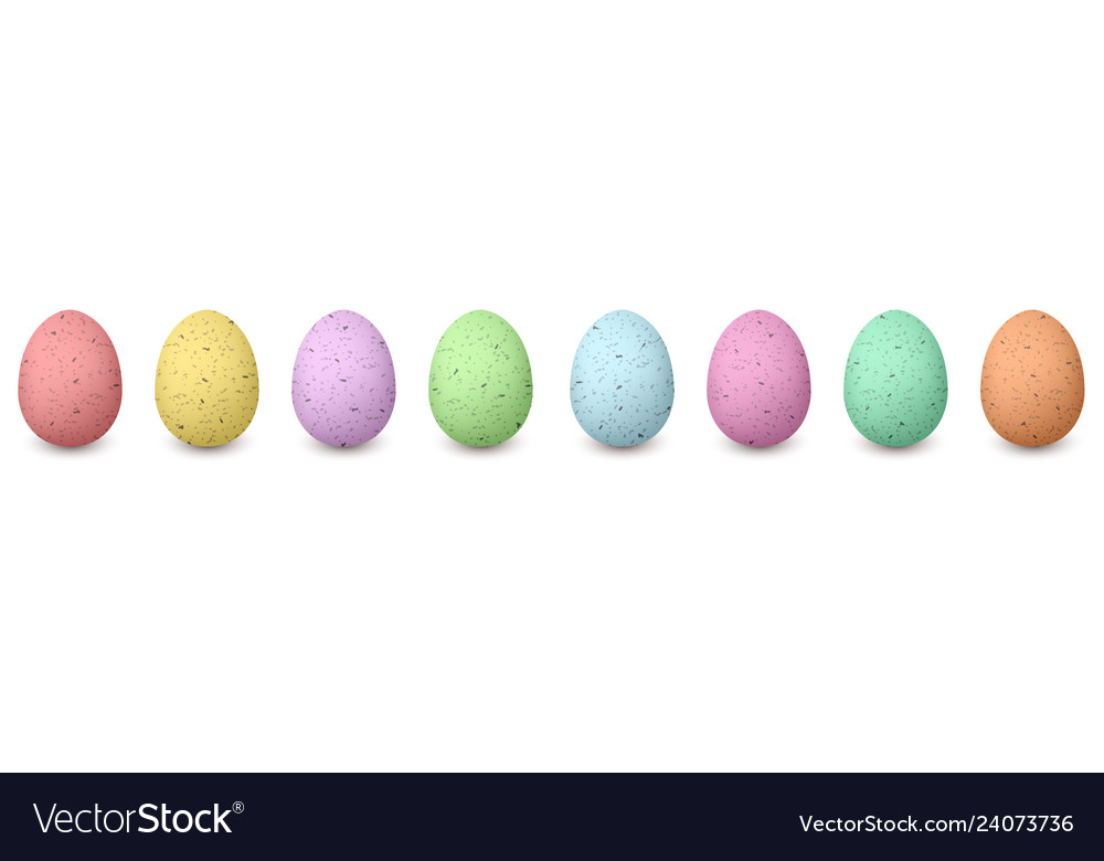 Happy shabby easter colored eggs in a row set of