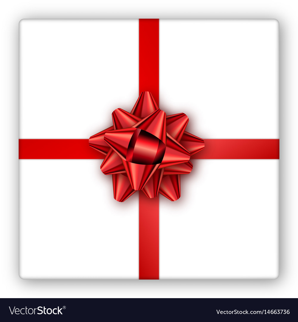 Holiday Gift Box With Red Ribbon And Bow Template Vector Image