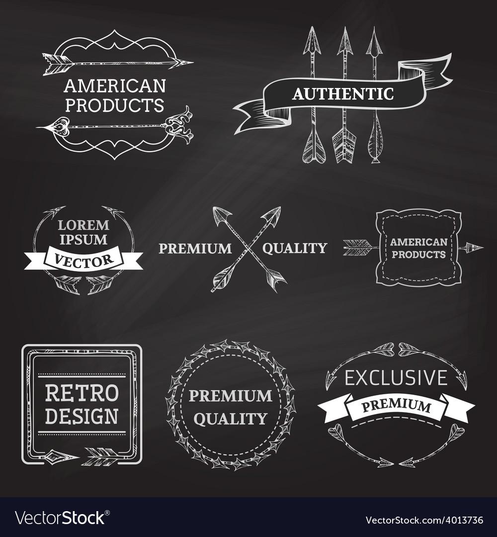 Set of chalk arrows design elements on blackboard vector image