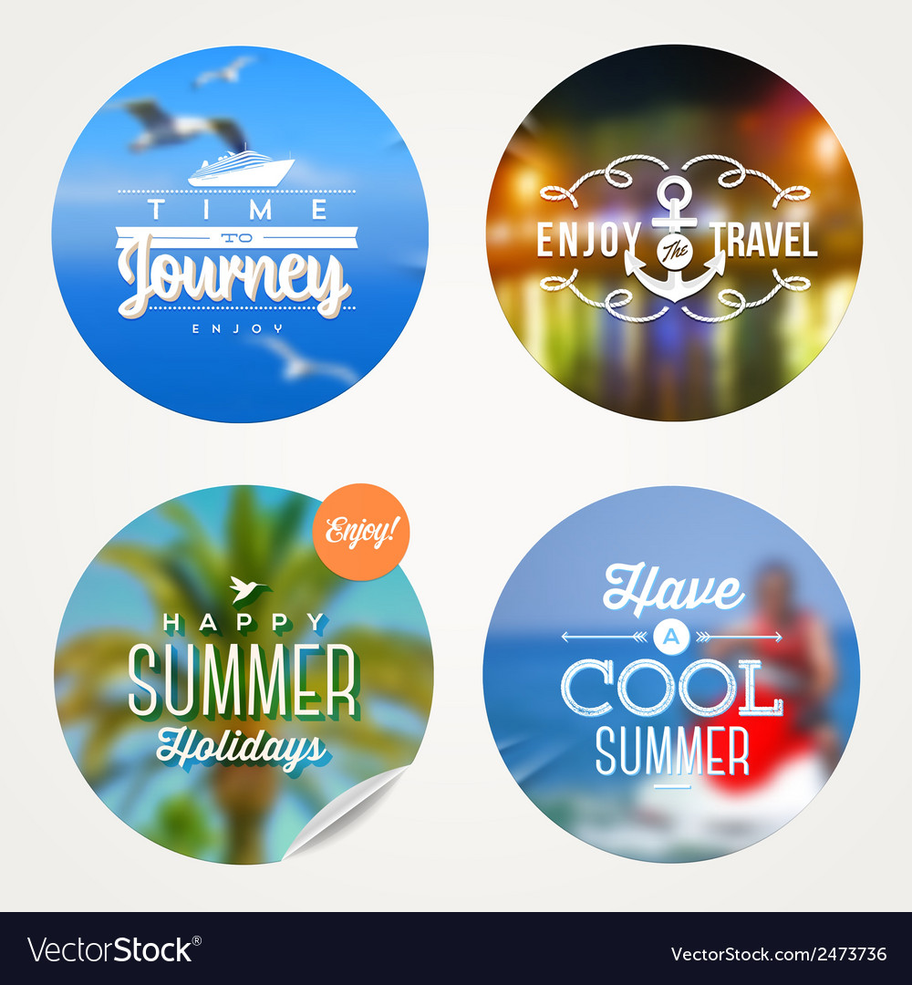 Summer holidays travel and vacation set vector image