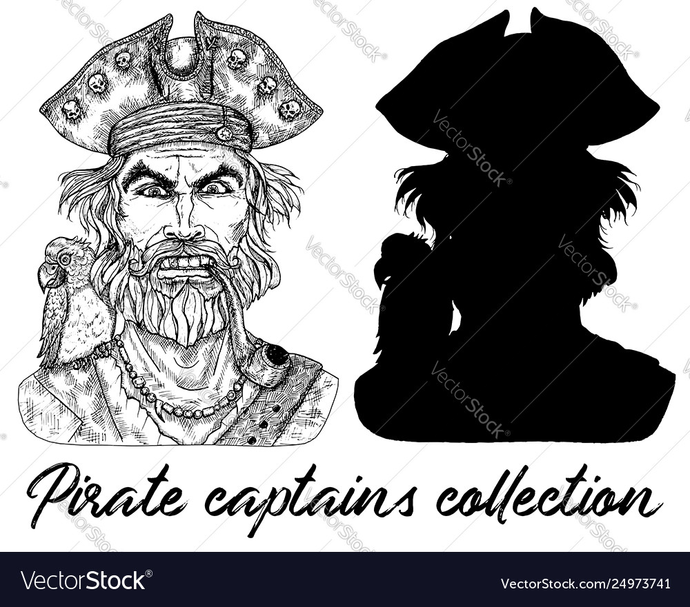 Angry pirate captain and silhouette