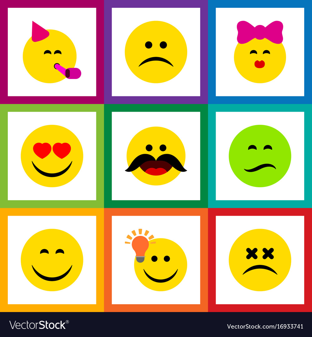 Flat icon expression set of frown cheerful have