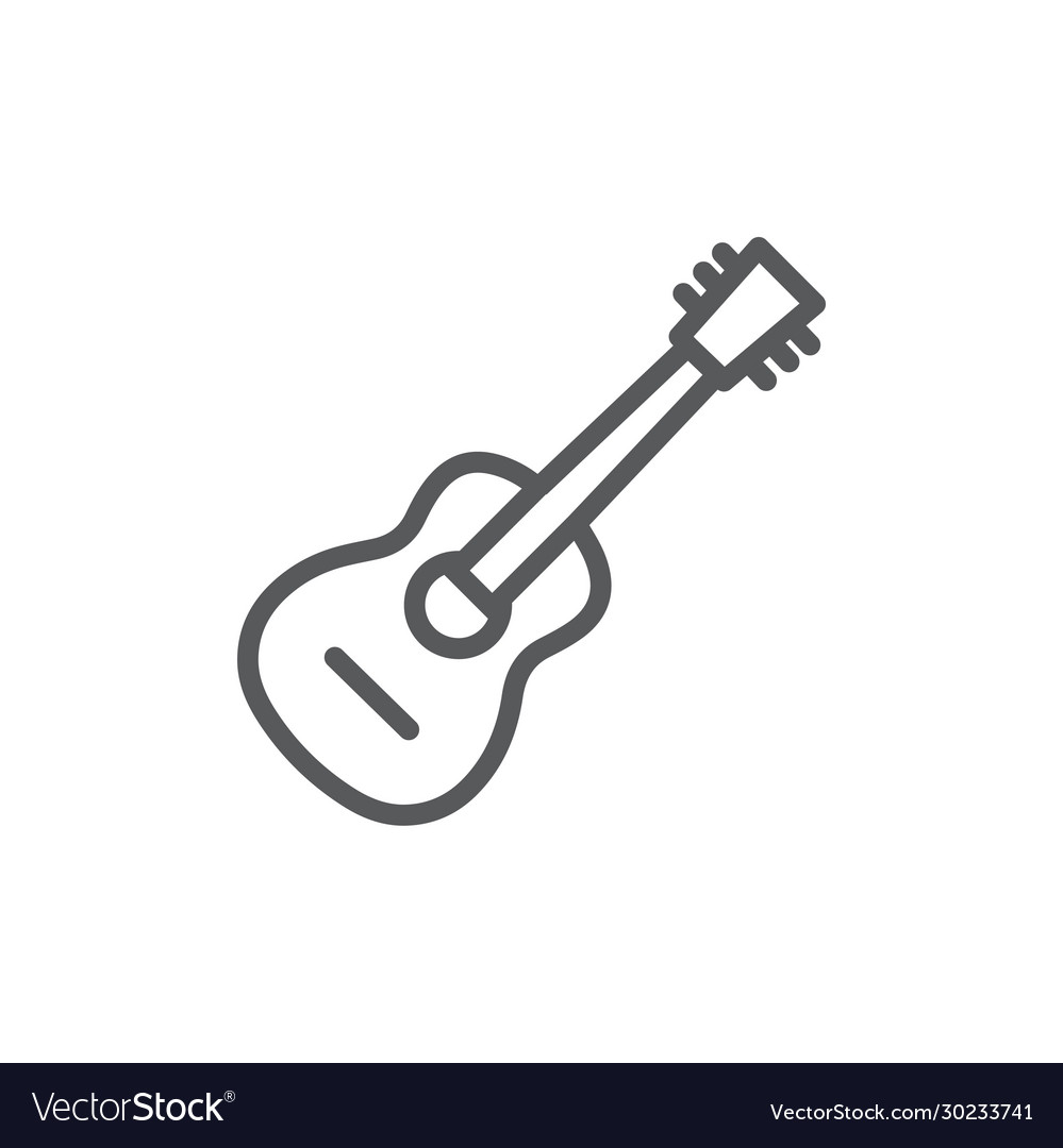 Guitar line icon on white background