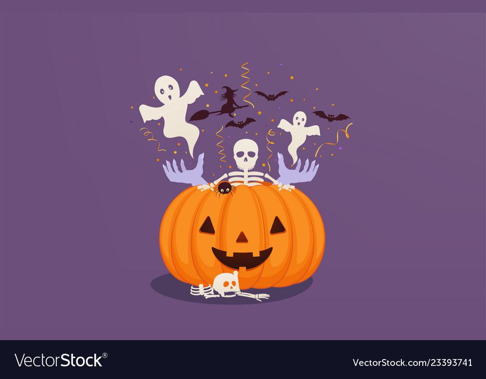 Halloween pumpkin with dead mans hands and