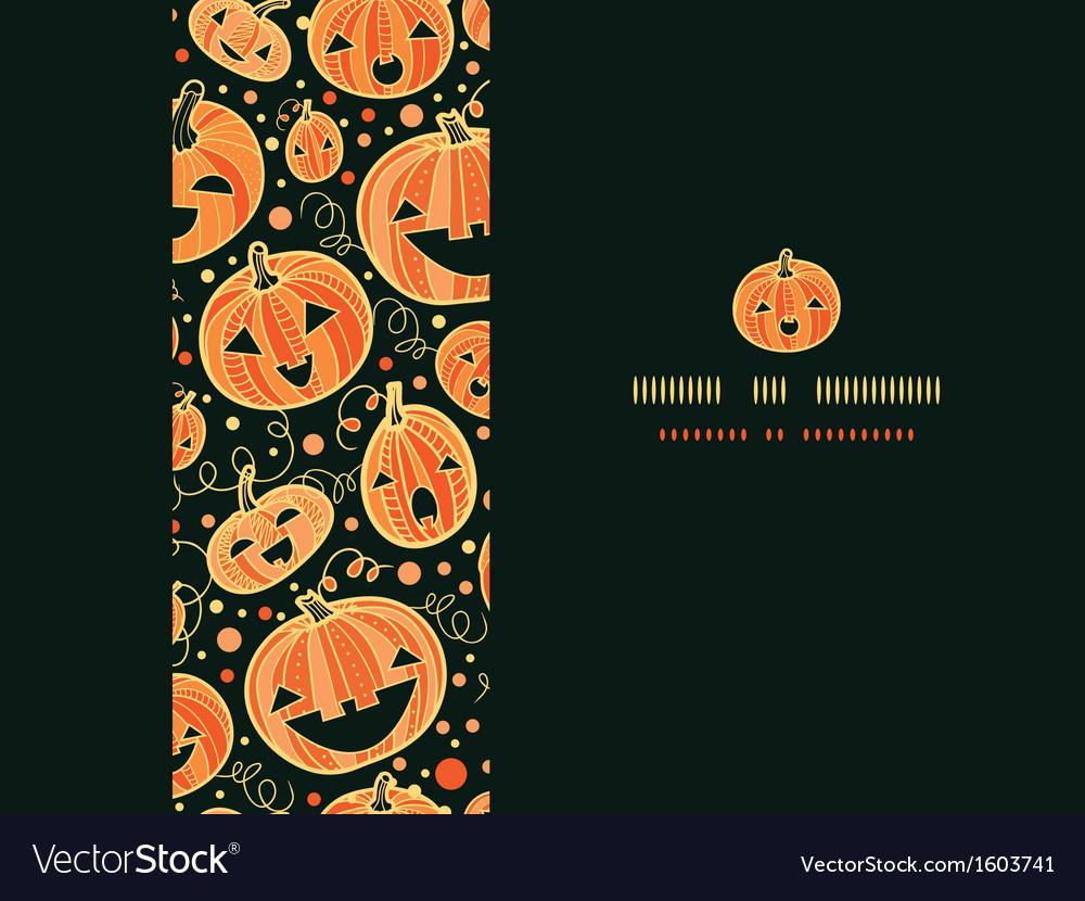 Halloween pumpkins horizontal frame seamless