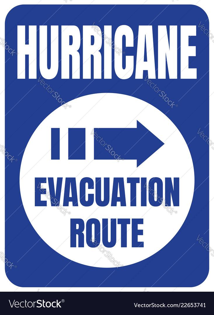Hurricane evacuation route road sign blue square