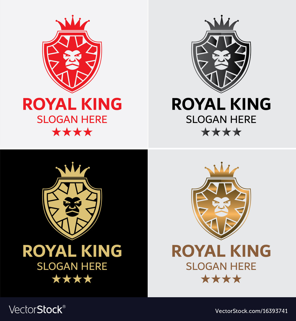 lion king crest logo template royalty free vector image