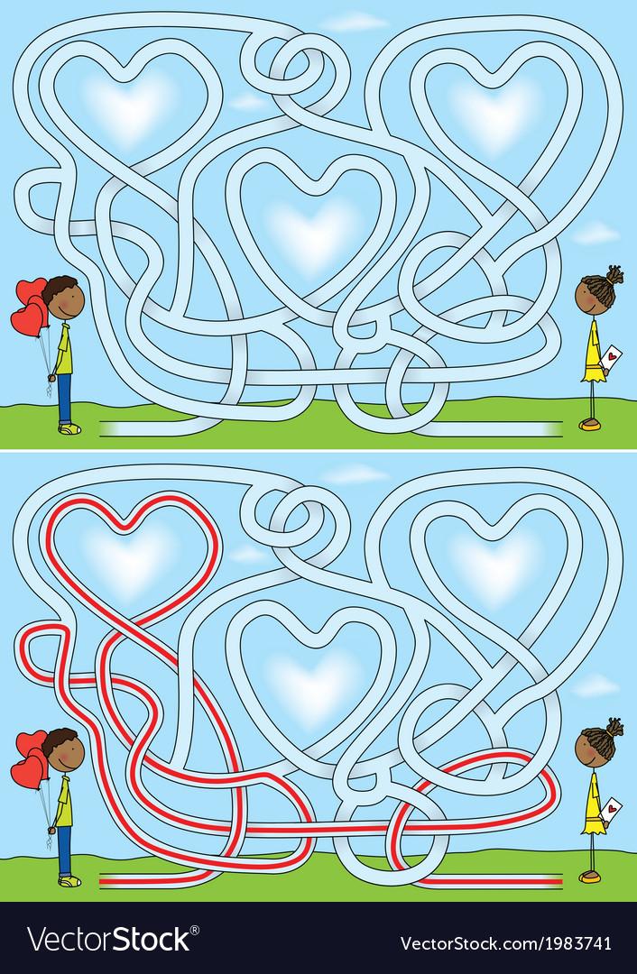 Love maze vector image