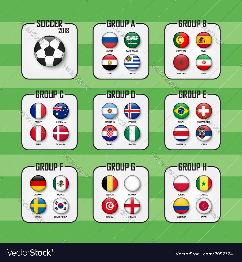 Soccer cup 2018 set of national flags team group Vector Image ab3a2021c