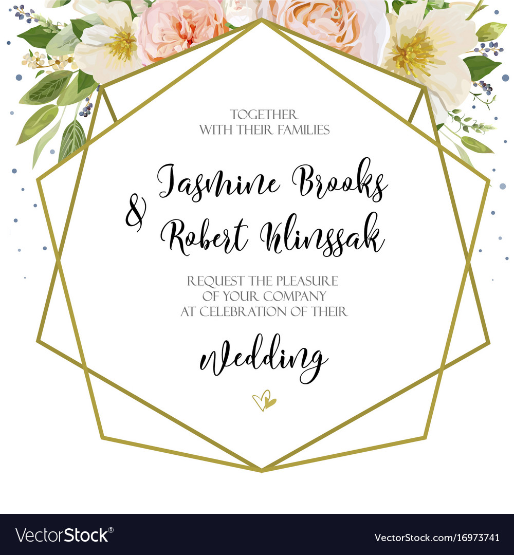 Wedding invitation invite card design with pink vector image stopboris Image collections