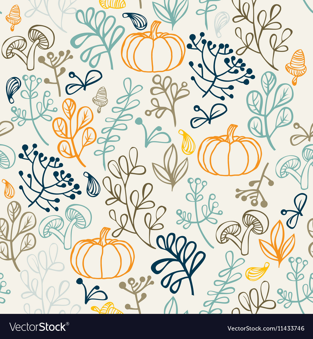 Autumn seamless pattern Elements design of leaf