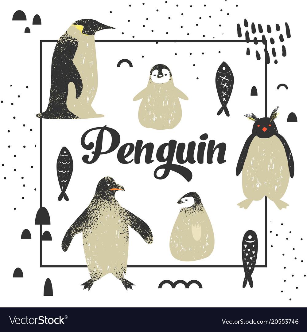 Baby shower design with cute penguins hand drawn