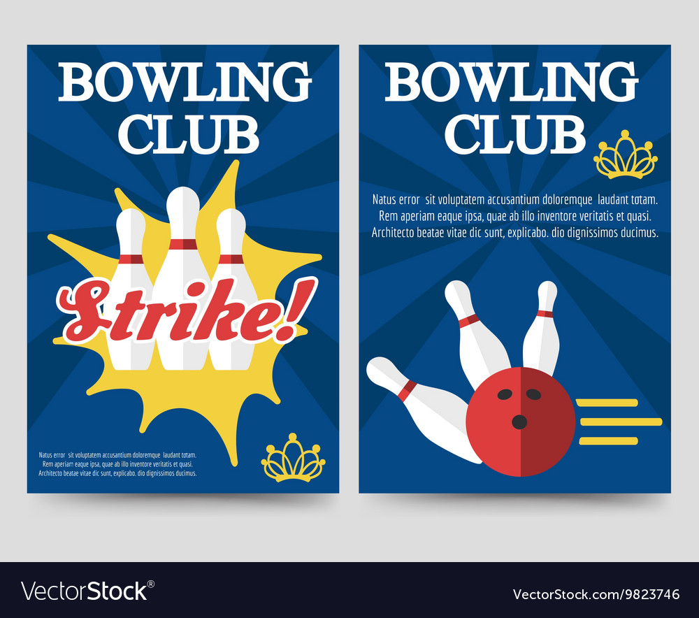 Bowling Brochure Flyer Template Set Royalty Free Vector