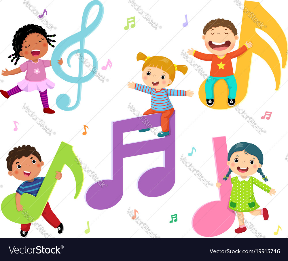 cartoon kids with music notes royalty free vector image rh vectorstock com kids victorian mansion kids victoria secret pink outfit