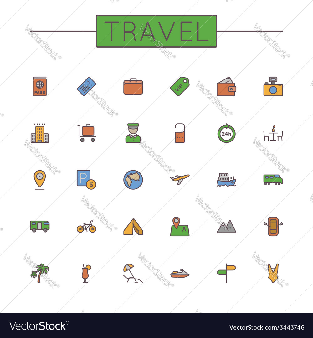 Colored Travel Line Icons