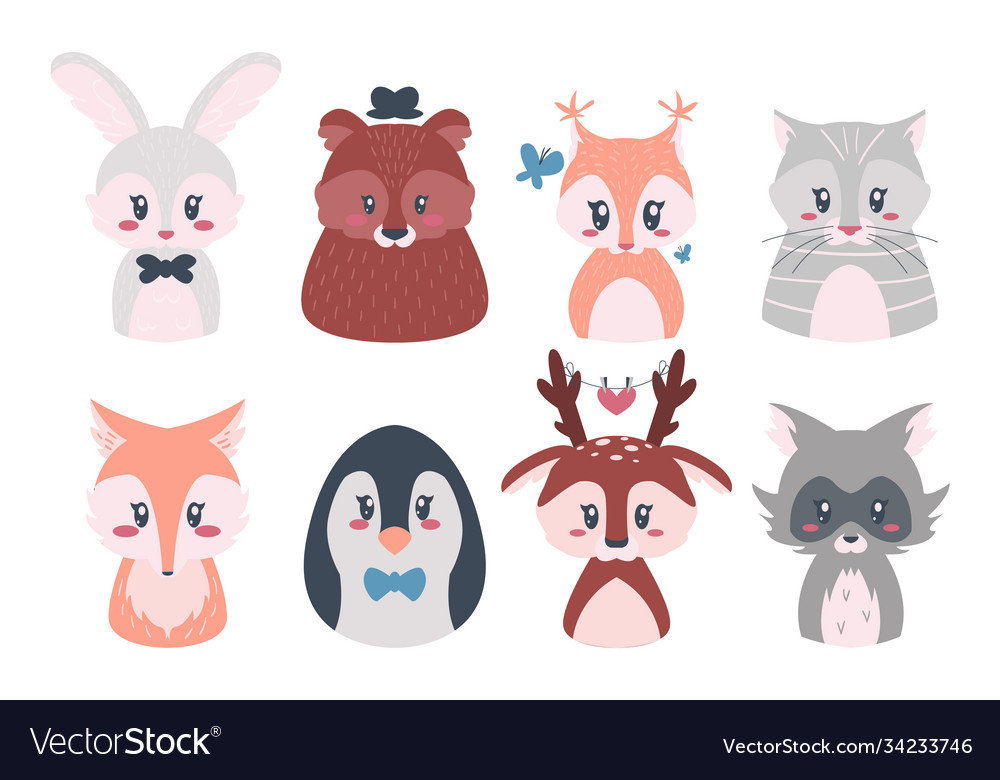 Cute animals cartoon baforest characters