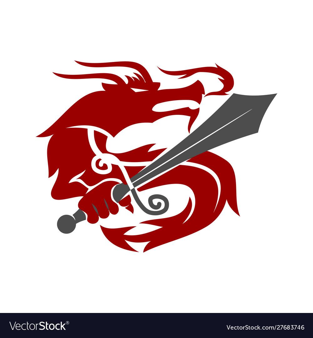 Dragon sword logo design mascot template isolated