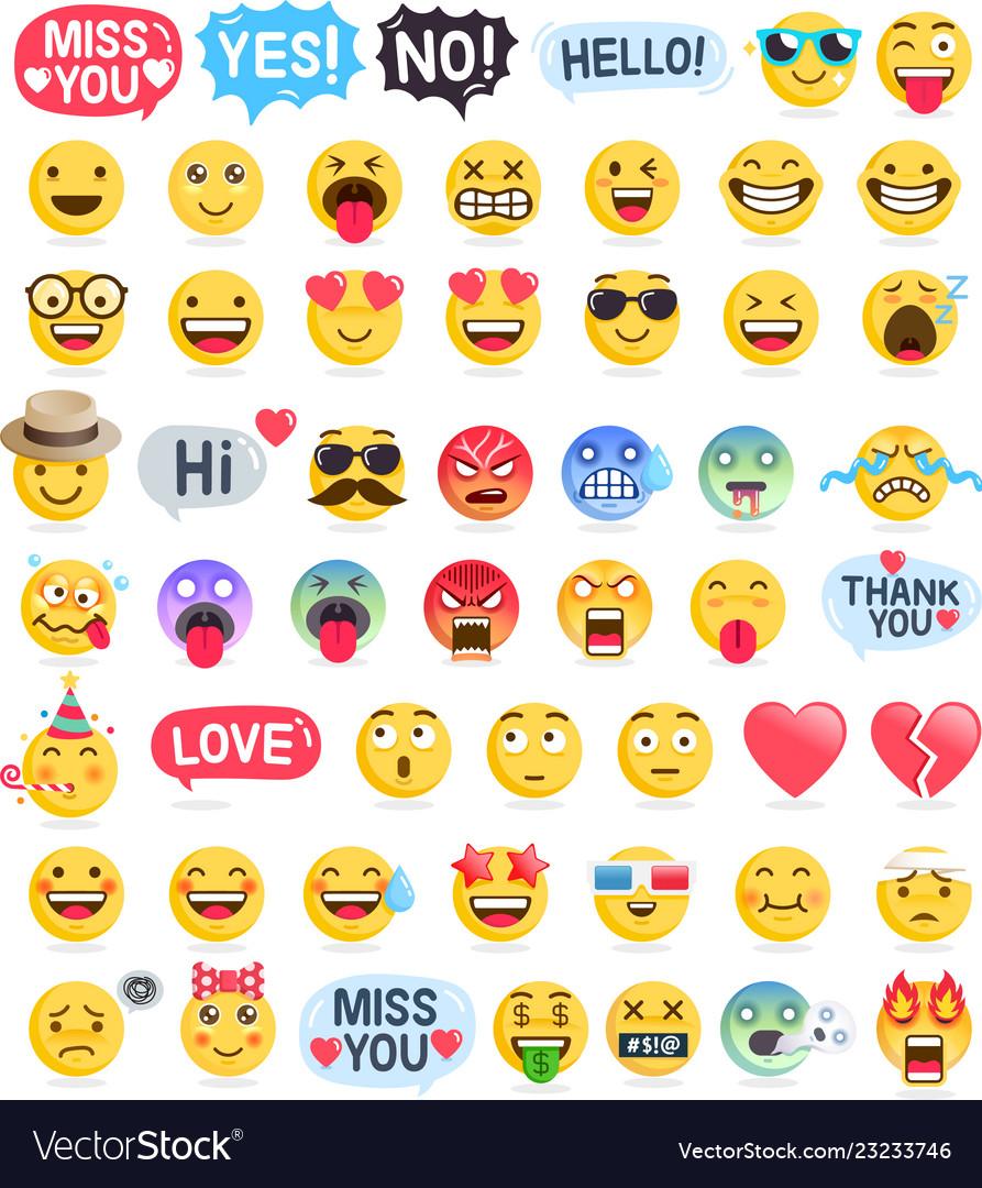 Emoji emoticons symbols icons set
